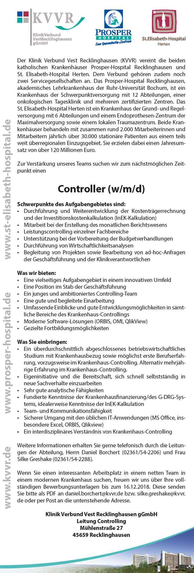 Klinik Verbund Vest Recklinghausen gGmbH: Controller (w/m/d)