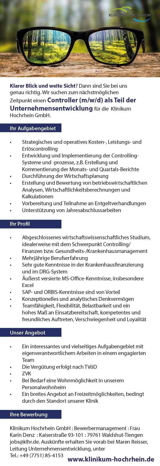 Klinikum Hochrhein GmbH: Controller (m/w/d)