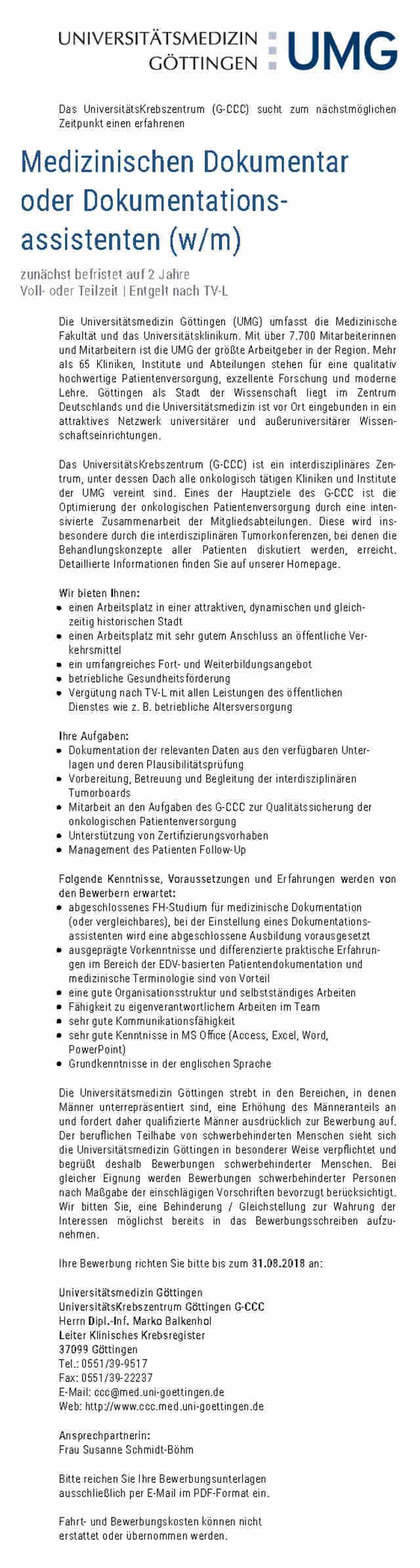 Universitätsmedizin Göttingen: Medizinischer Dokumentar / Dokumentationsassistent (w/m)