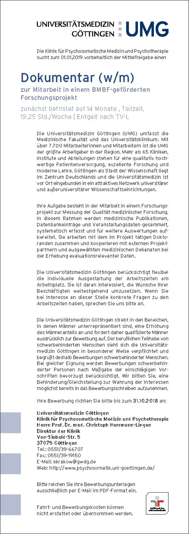 Universitätsmedizin Göttingen: Dokumentar (w/m)