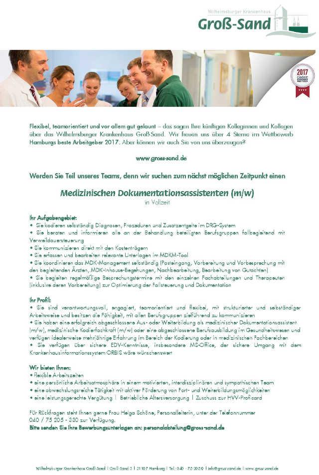 Krankenhaus Groß-Sand, Hamburg: Medizinischer Dokumentationsassistent (m/w)