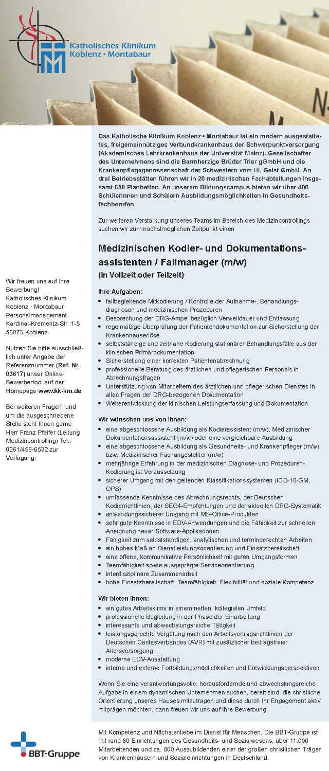 Katholisches Klinikum Koblenz-Montabaur, Koblenz: Medizinischer Kodier- und Dokumentationsassistent / Fallmanager (m/w)