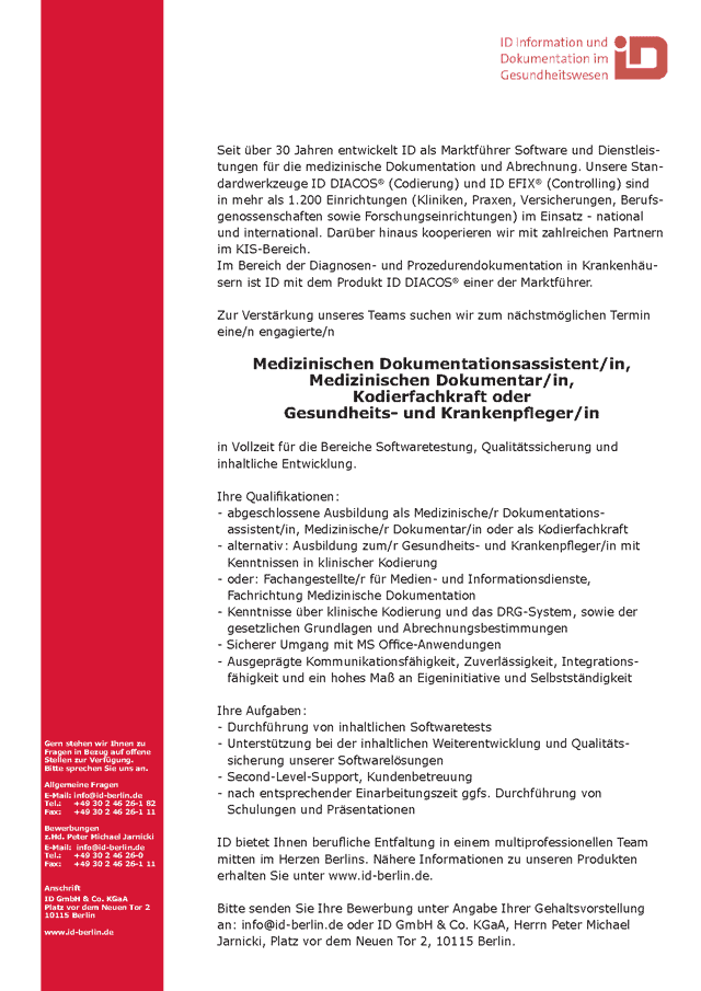 ID GmbH Berlin: Med. Dokumentationsassistent Med. Dokumentar Kodierfachkraft Gesundheits- und Krankenpfleger (w/m)