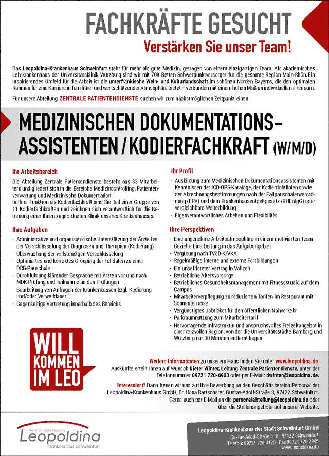 Leopoldina-Krankenhaus Schweinfurt: Medizinischer Dokumentationsassistent / Kodierfachkraft (w/m/d)