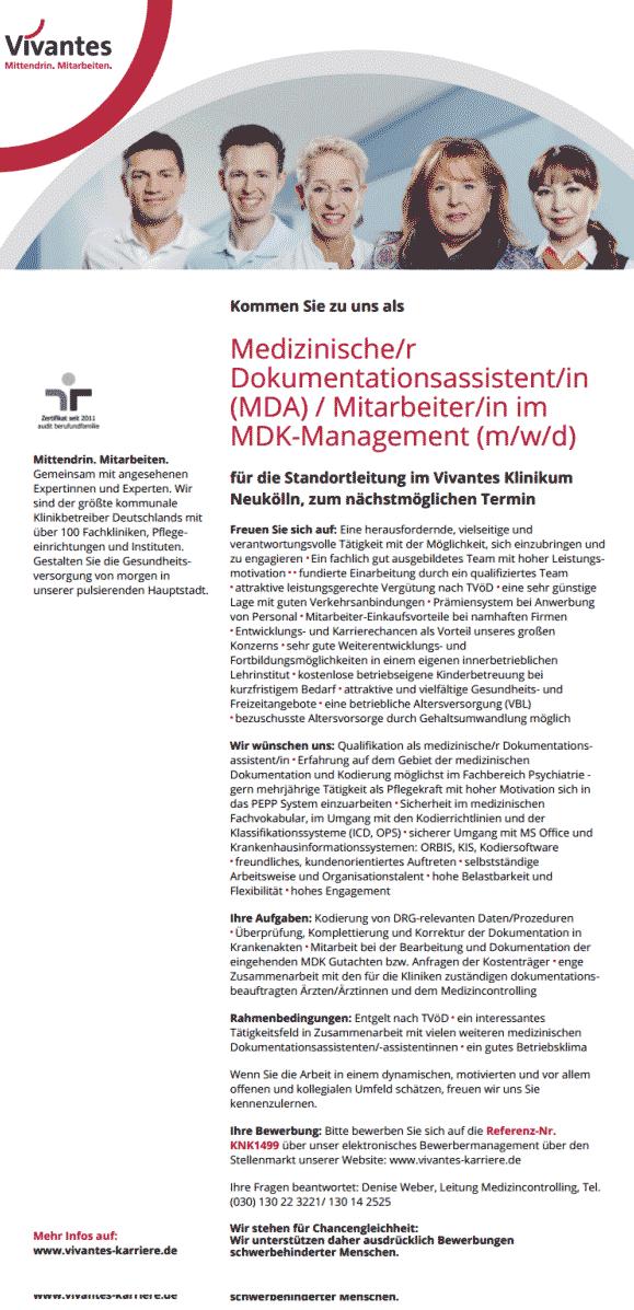 Vivantes Klinikum Neukölln: Medizinischer Dokumentationsassistent MDA / Mitarbeiter im MDK-Management (m/w/d)