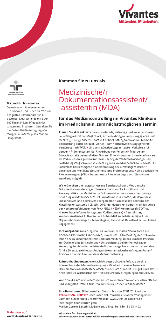 Vivantes Klinikum im Friedrichshain, Berlin: Medizinischer Dokumentationsassistent (MDA) (w/m)