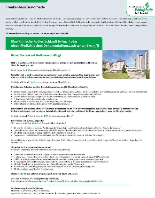 Krankenhaus Waldfriede, Berlin: Klinische Kodierfachkraft / Medizinische Dokumentationsassistenz (w/m/i)