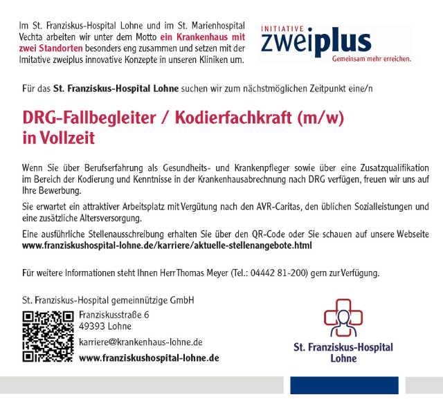 St. Franziskus-Hospital Lohne gGmbH: DRG-Fallbegleiter / Kodierfachkraft (m/w)
