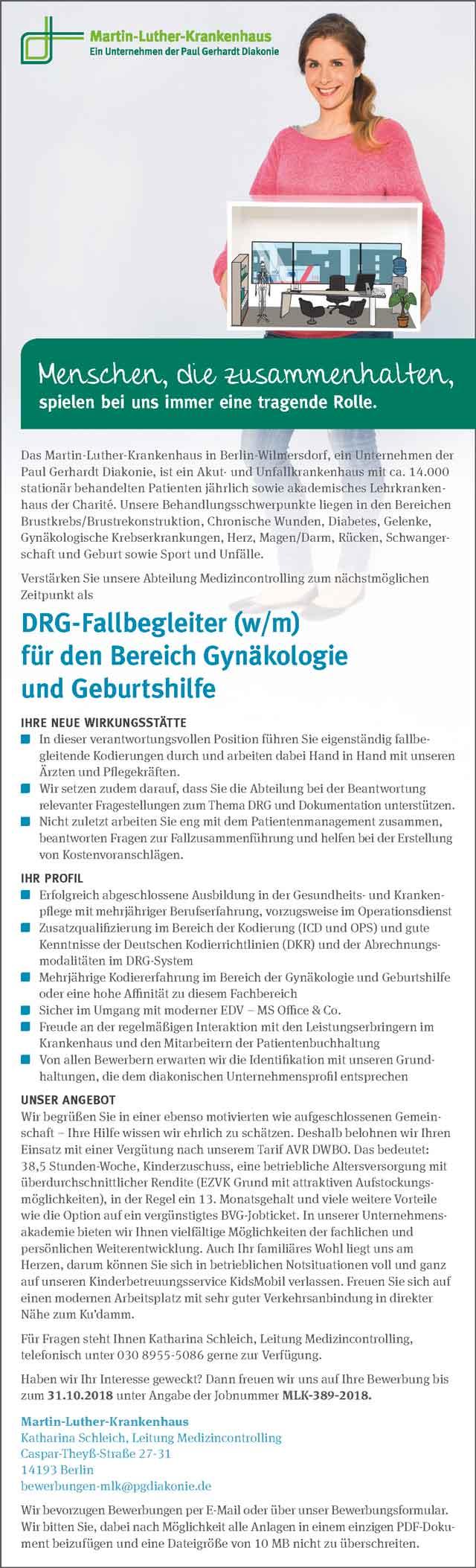 Martin-Luther-Krankenhaus Berlin-Wilmersdorf: DRG-Fallbegleiter (w/m)