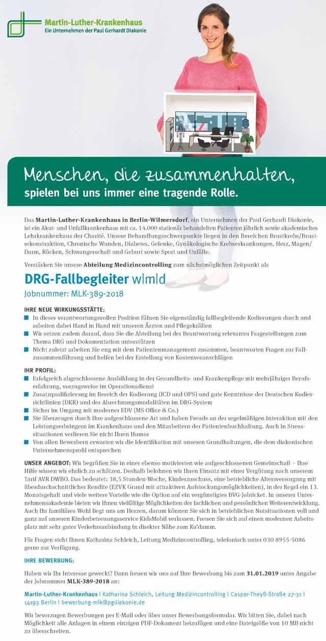 Martin-Luther-Krankenhaus Berlin-Wilmersdorf: DRG-Fallbegleiter (w|m|d)