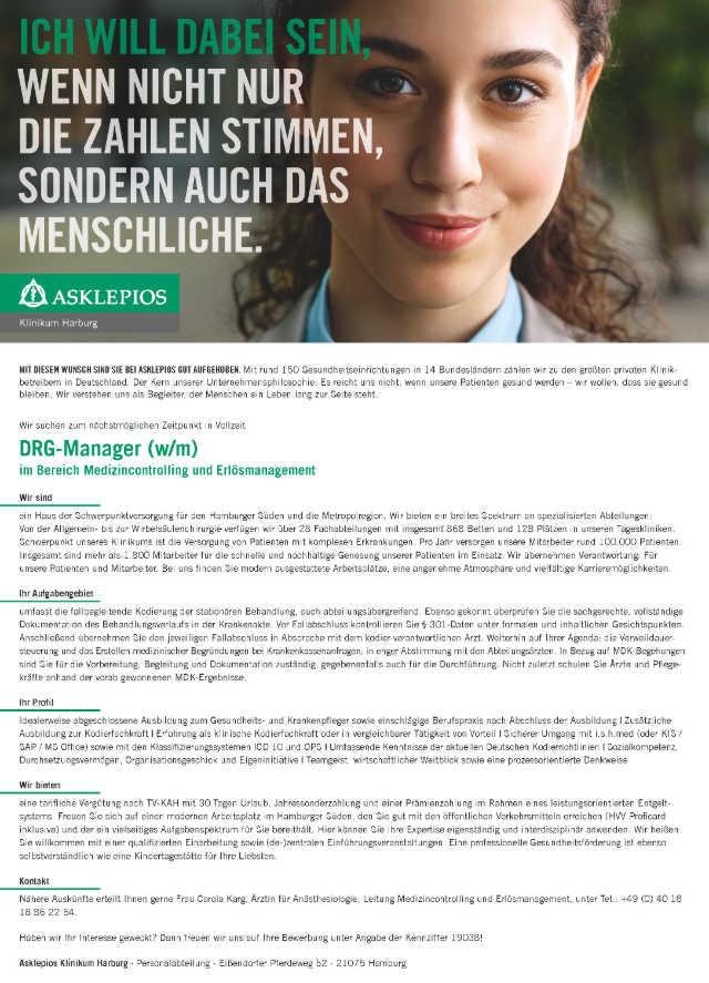 Asklepios Klinikum Harburg: DRG-Manager (w/m)