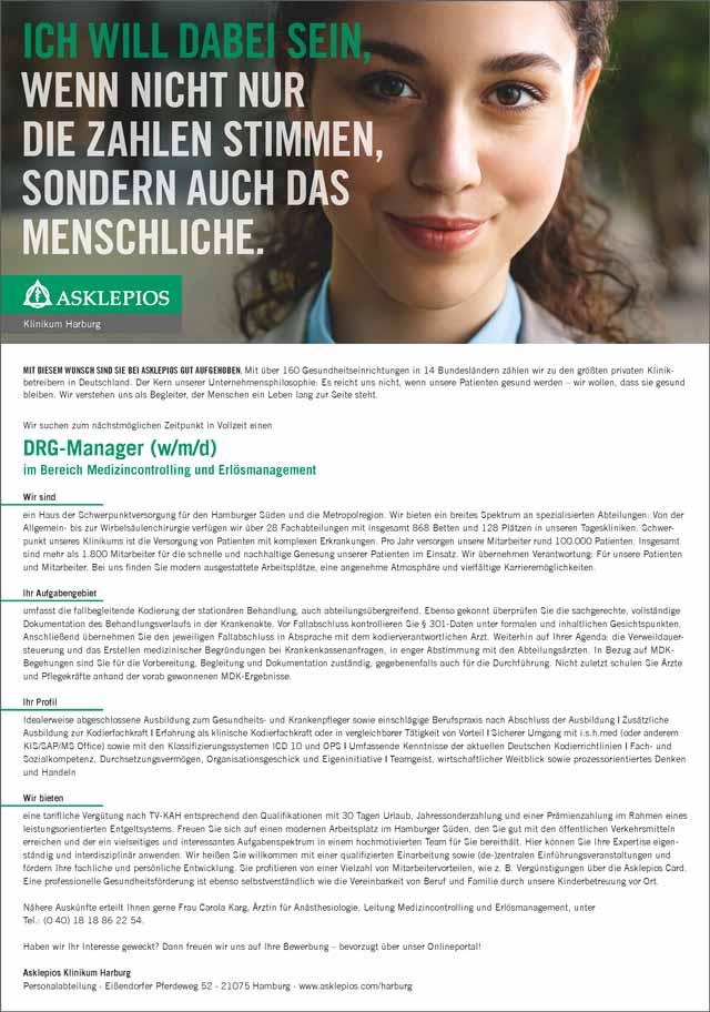 Asklepios Klinikum Harburg: DRG-Manager (w/m/d)