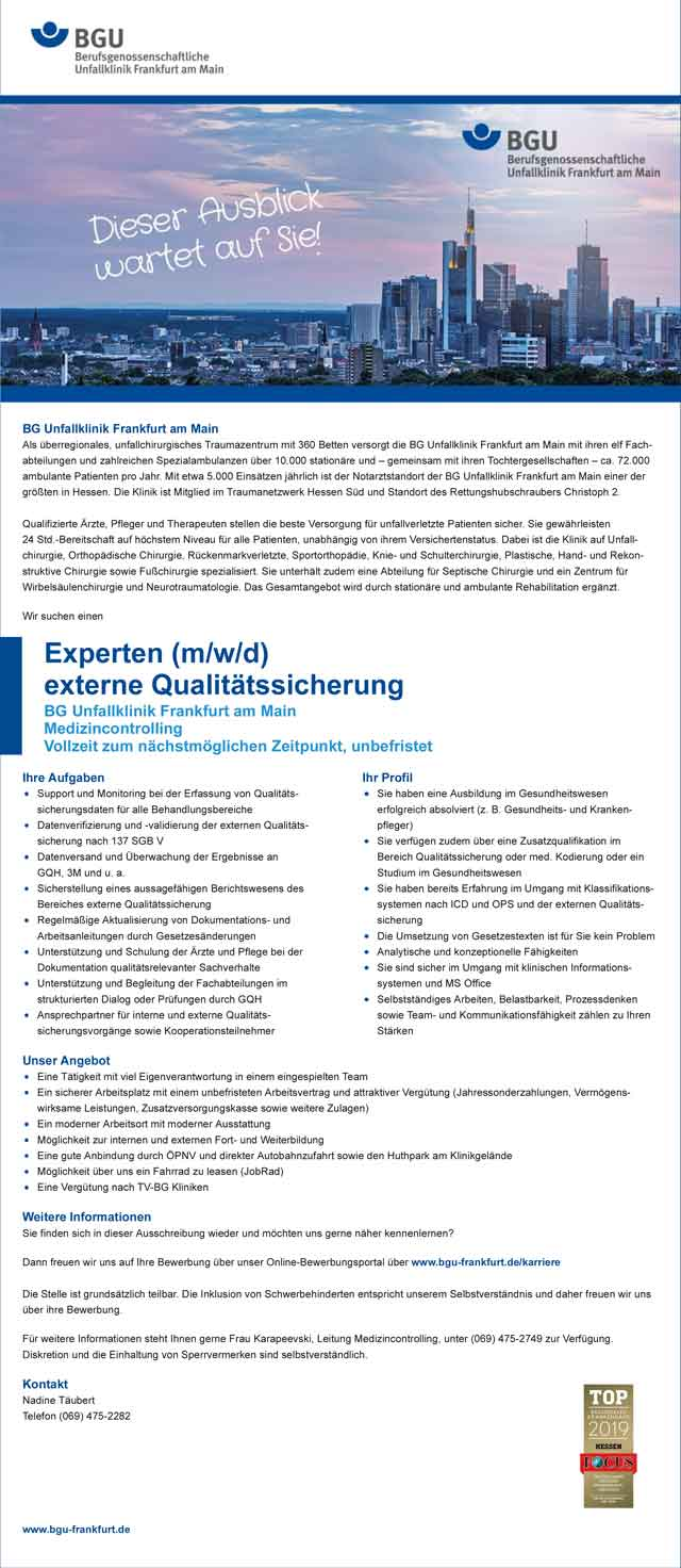 BG Unfallklinik Frankfurt am Main: Experte externe Qualitätssicherung (m/w/d)