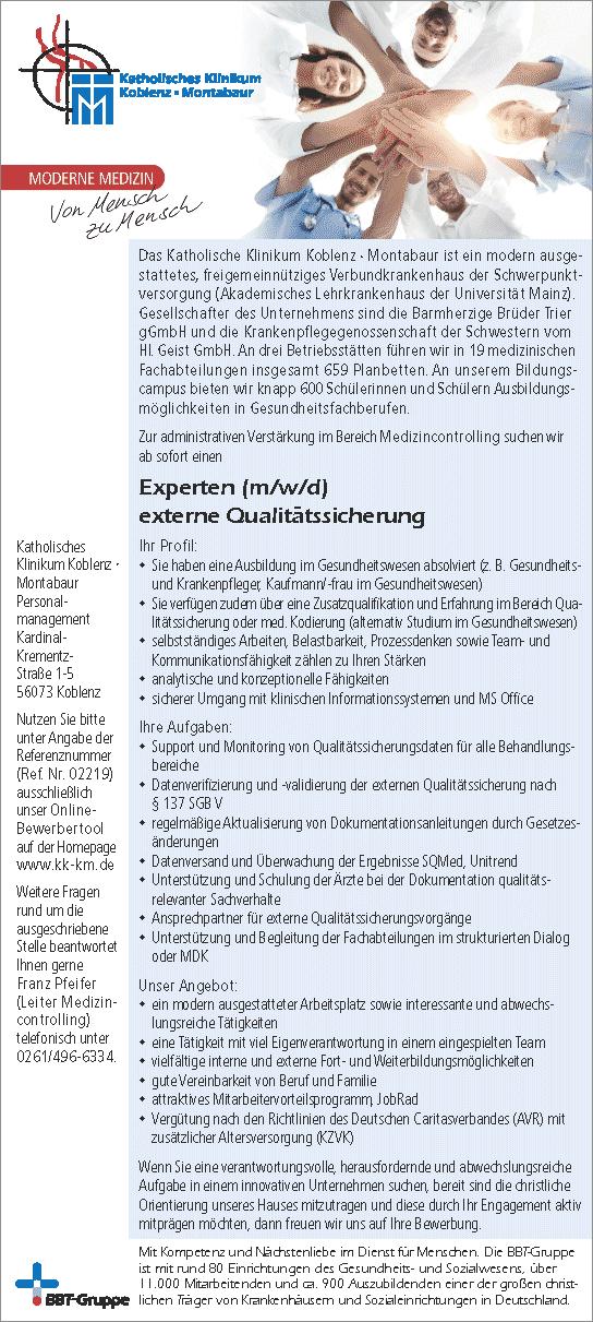 Katholisches Klinikum Koblenz-Montabaur: Experte externe Qualitätssicherung (m/w/d)