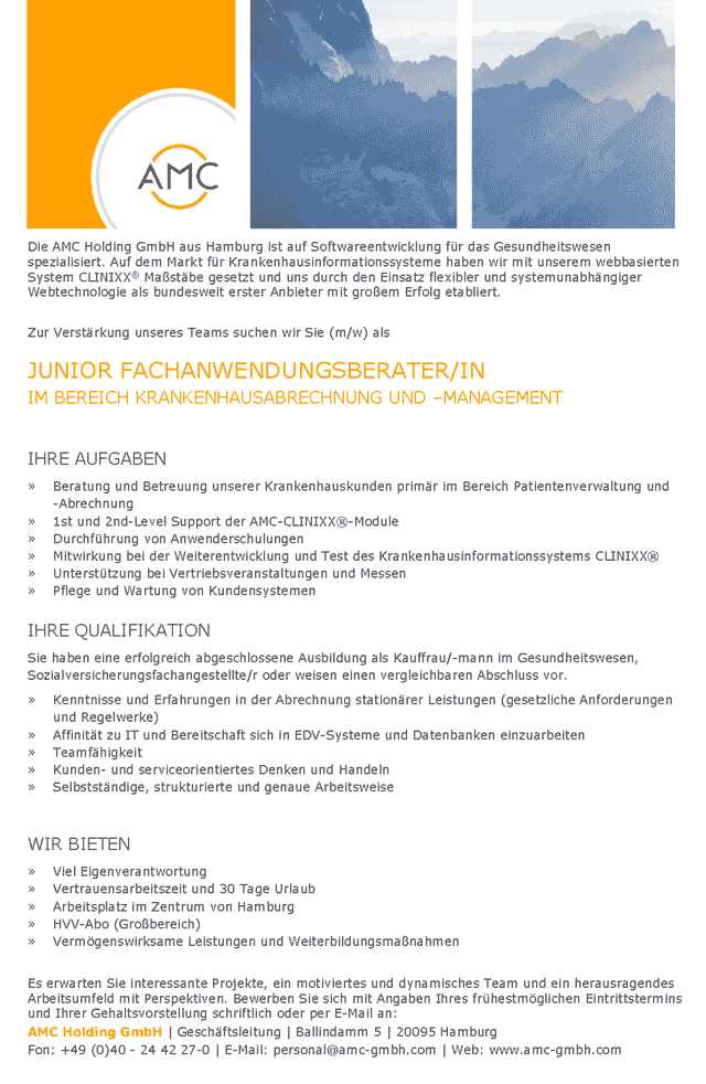 AMC Advanced Medical Communication Holding GmbH, Hamburg: Junior Fachanwendungsberater (m/w)