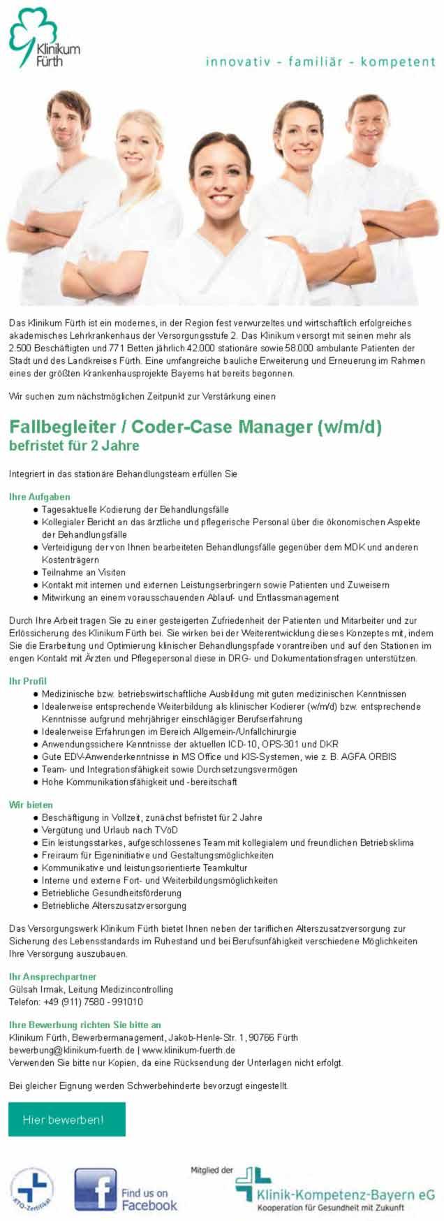 Klinikum Fürth: Fallbegleiter / Coder-Case Manager (w/m/d)