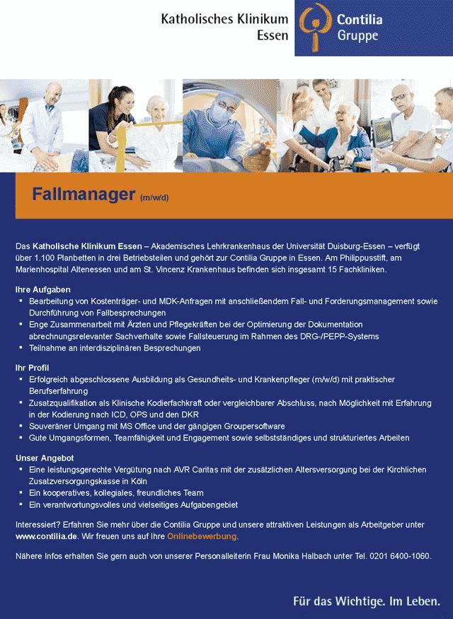 Katholisches Klinikum Essen GmbH: Fallmanager (m/w/d)