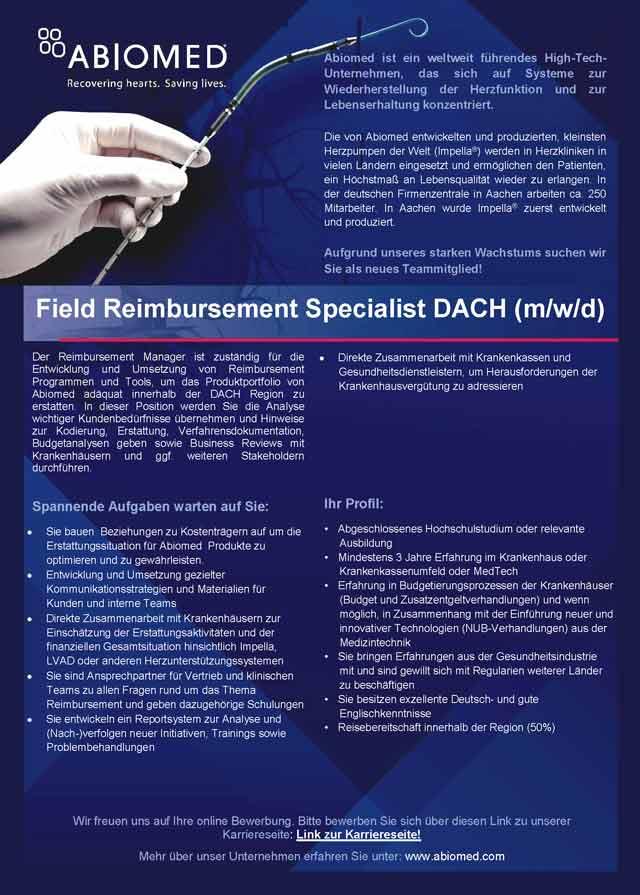 ABIOMED Europe GmbH, Aachen: Field Reimbursement Specialist DACH (m/w/d)