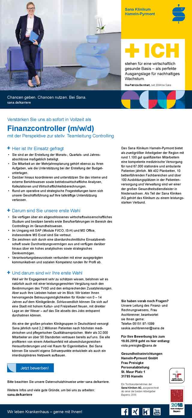 Sana Klinikum Hameln-Pyrmont: Finanzcontroller (m/w/d)