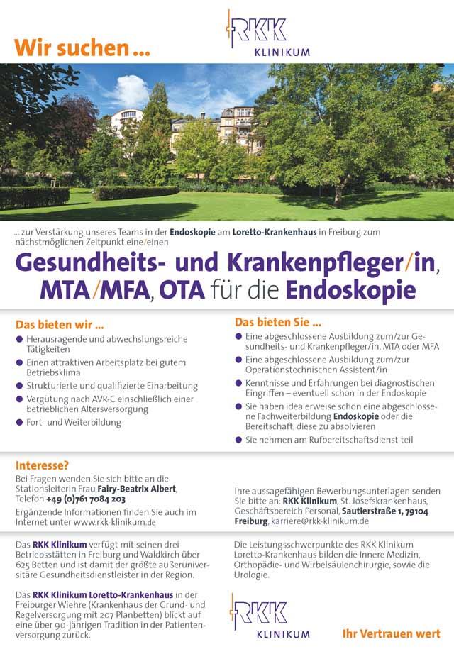 Loretto-Krankenhaus Freiburg: Gesundheits- und Krankenpfleger, MTA, MFA, OTA (m/w/d)