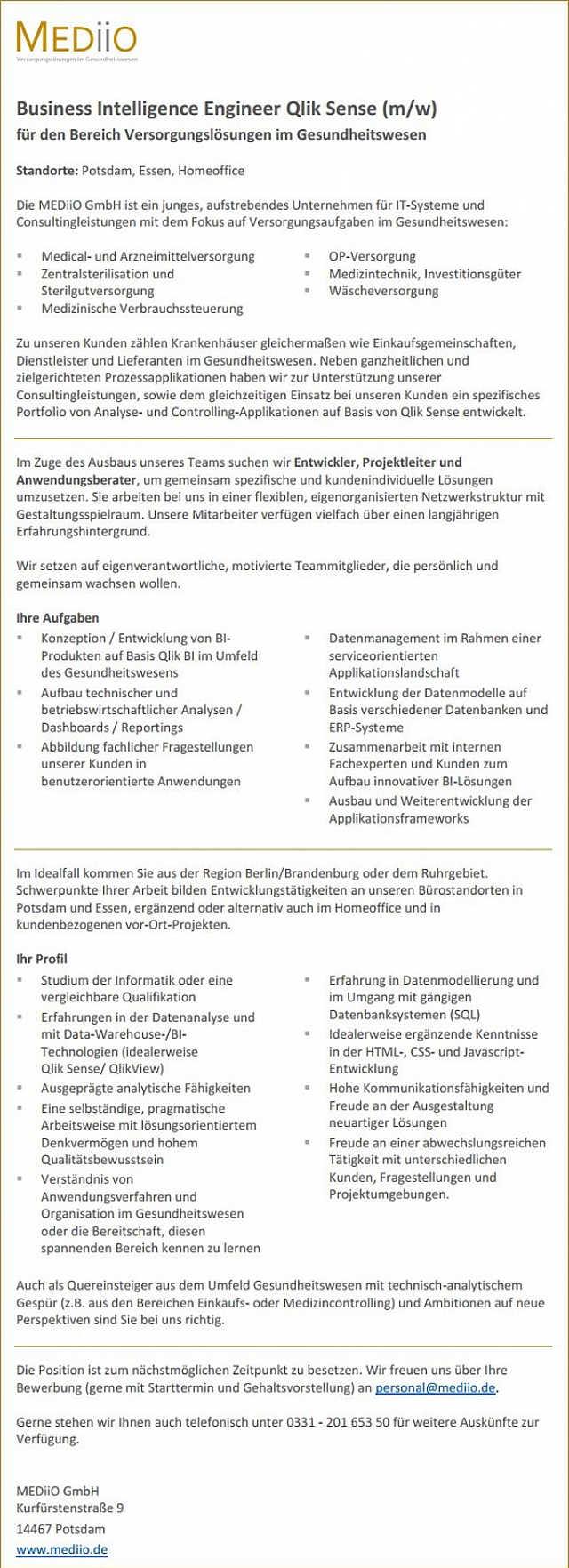 MEDiiO GmbH, Potsdam: Business Intelligence Engineer Qlik Sense (m/w)