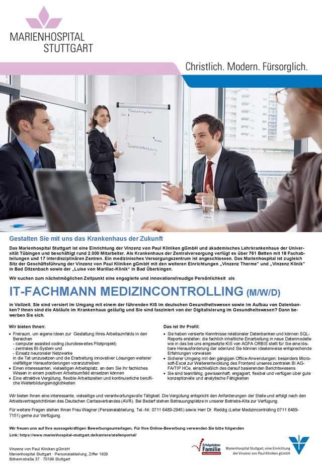 Marienhospital Stuttgart: IT-Fachmann Medizincontrolling (m/w/d)