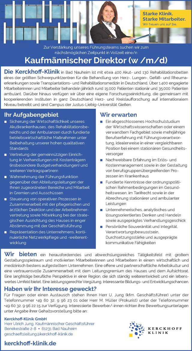 KerckhoffKlinik GmbH, Bad Nauheim: Kaufmännischer Direktor (w/m/d)