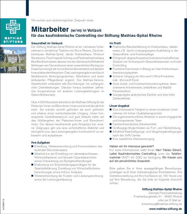 Stiftung Mathias-Spital Rheine: Mitarbeiter kfm. Controlling (w/m)