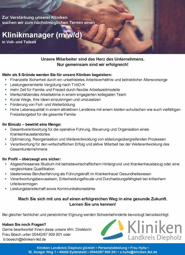 Kliniken Landkreis Diepholz gGmbH: Klinikmanager (m/w/d)