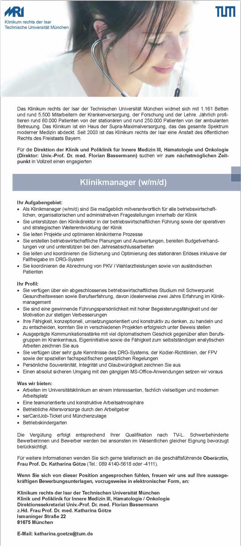 Klinikum rechts der Isar München: Klinikmanager (w/m/d)
