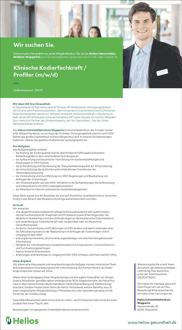 Helios Universitätsklinikum Wuppertal: Klinische Kodierfachkraft / Profiler (m/w/d)
