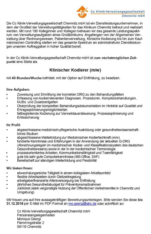 Cc Klinik-Verwaltungsgesellschaft Chemnitz mbH: Klinischer Kodierer (m/w)