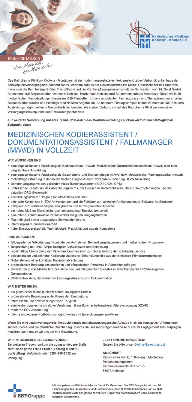 Katholisches Klinikum Koblenz-Montabaur, Koblenz: Medizinischer Kodierassistent / Dokumentationsassistent / Fallmanager (m/w/d)