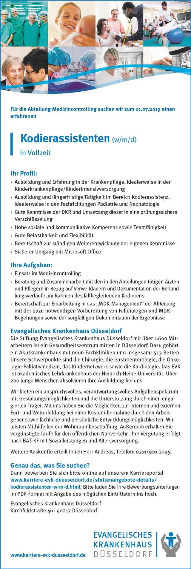 Evangelisches Krankenhaus Düsseldorf: Kodierassistent (w/m/d)
