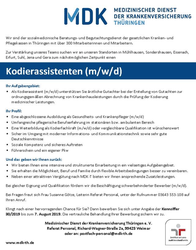 MDK Thüringen: Kodierassistent (m/w/d)