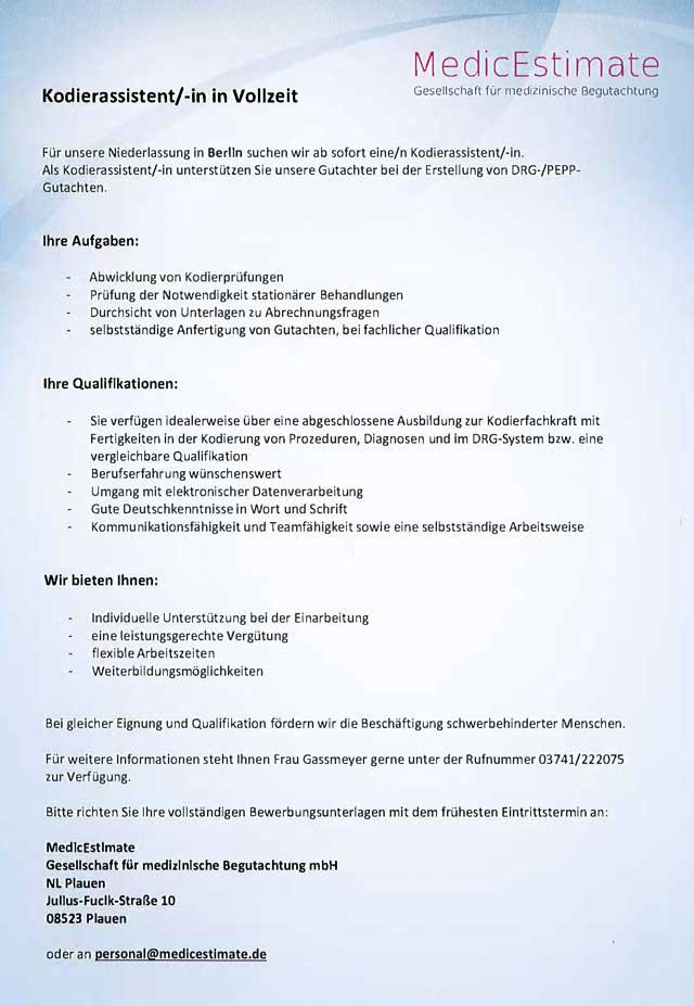 MedicEstimate Gesellschaft für medizinische Begutachtung mbH, Berlin: Kodierassistent (m/w)