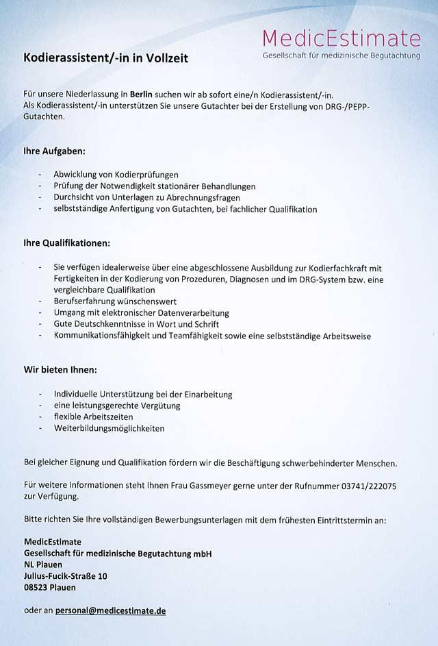 MedicEstimate Gesellschaft für medizinische Begutachtung mbH, Berlin: Kodierassistent (m/w/d)