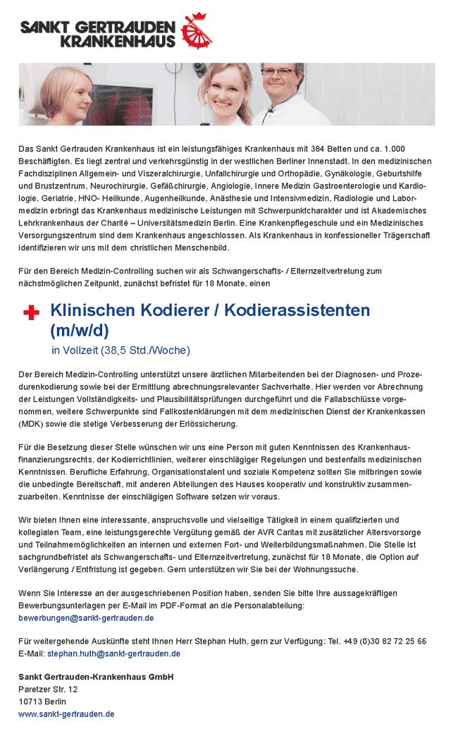 Sankt Gertrauden Krankenhaus Berlin: Klinischer Kodierer / Kodierassistent (m/w/d)