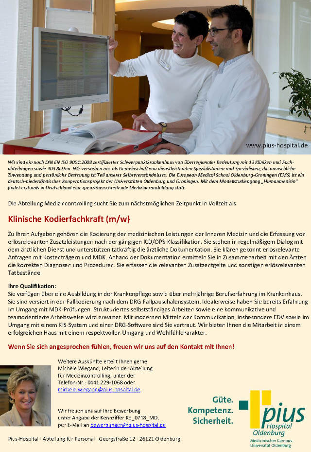 Pius-Hospital Oldenburg: Klinische Kodierfachkraft (m/w)