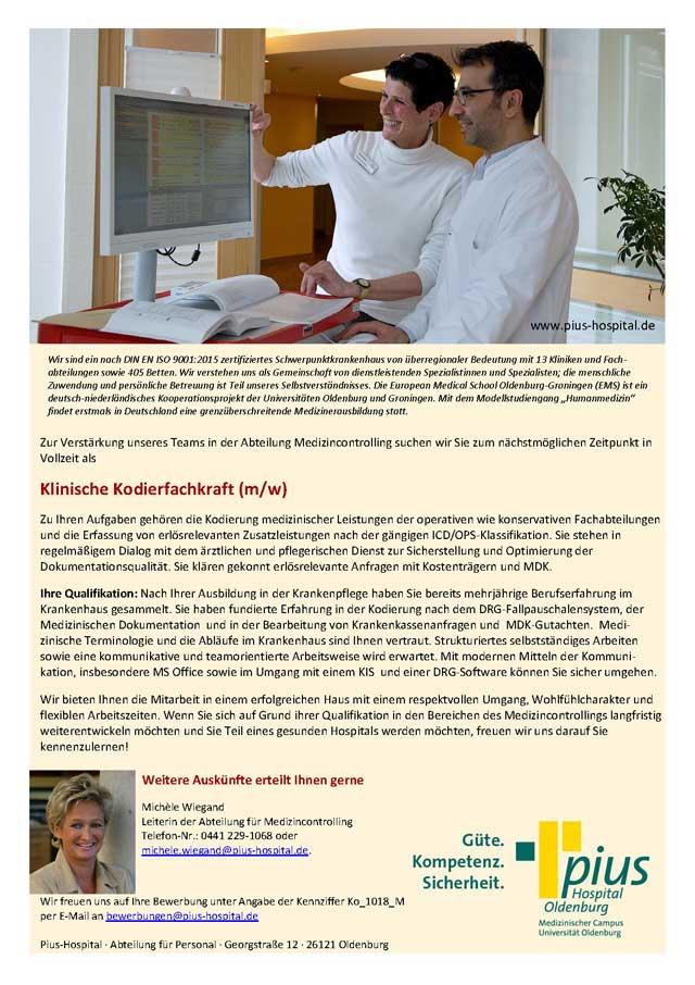 Pius-Hospital Oldenburg: Klinische Kodierfachkraft (m/w)