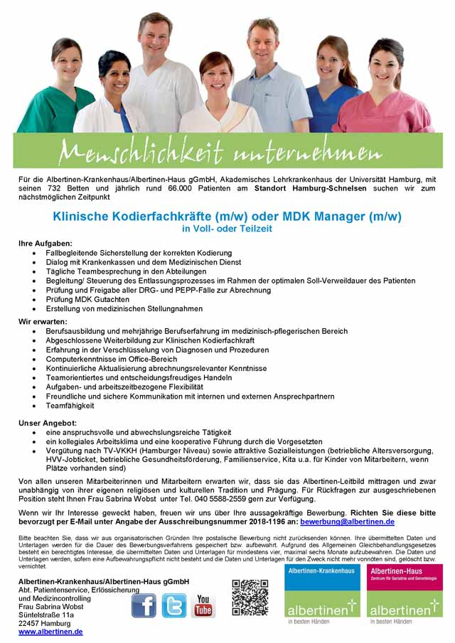 Albertinen-Krankenhaus / Albertinen-Haus gGmbH: Klinische Kodierfachkräfte / MDK Manager (m/w)