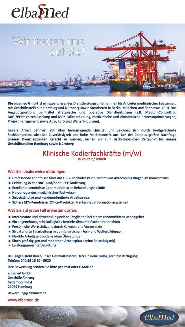 elbamed GmbH, Hamburg: Klinische Kodierfachkräfte (m/w)