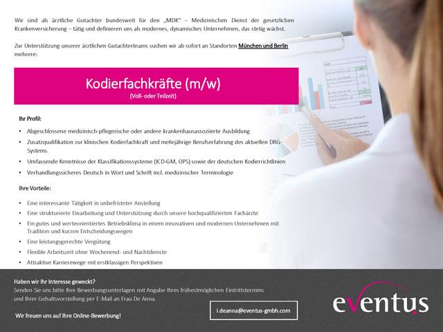 eventus GmbH: Kodierfachkräfte (m/w)