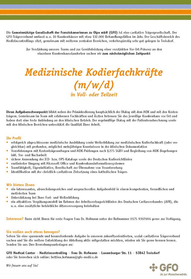 GFO Medical Center Troisdorf: Medizinische Kodierfachkräfte (m/w/d)