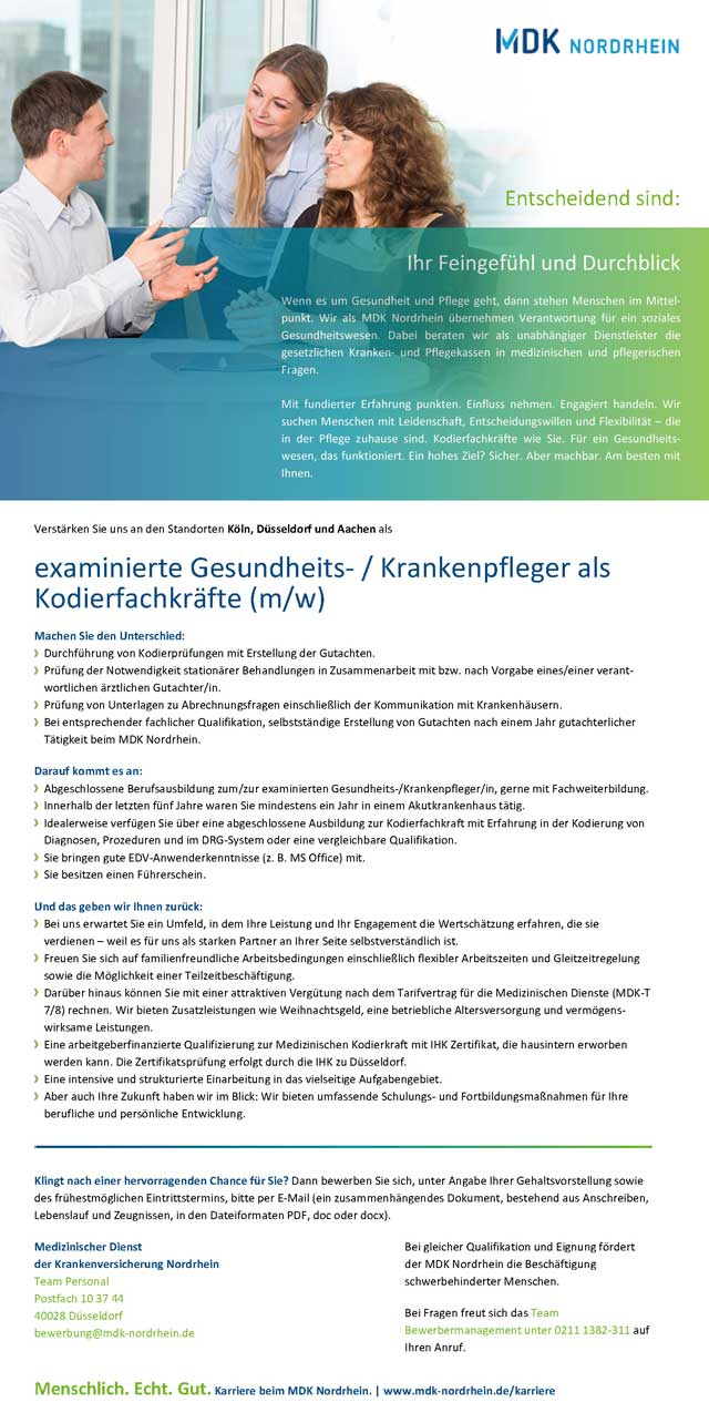 Medizinischer Dienst der Krankenversicherung Nordrhein, Düsseldorf: Kodierfachkräfte (m/w)