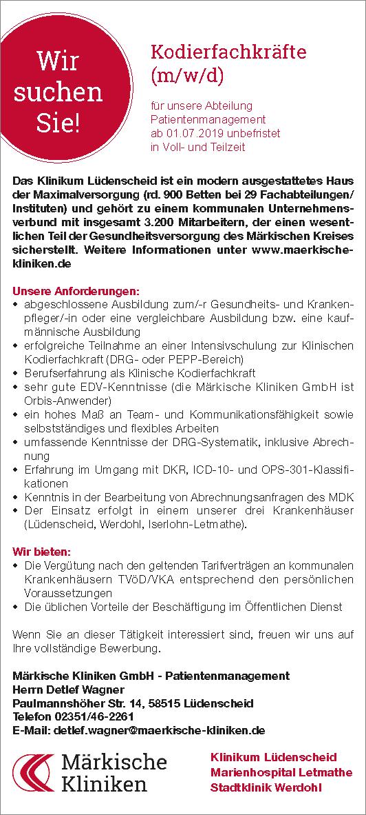 Märkische Kliniken GmbH: Kodierfachkräfte f.d. Abteilung Patientenmanagement (m/w/d)