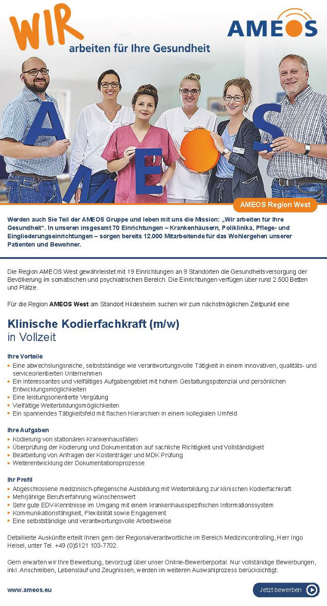 AMEOS Region West, Hildesheim: Klinische Kodierfachkraft (m/w)