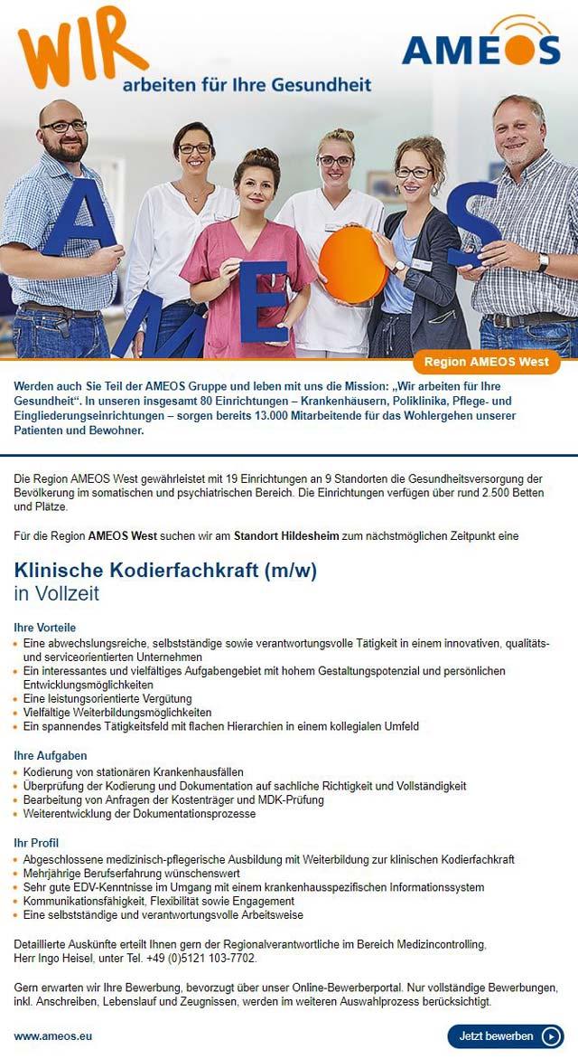 AMEOS Region West, Hildesheim: Klinische Kodierfachkraft (m/w)