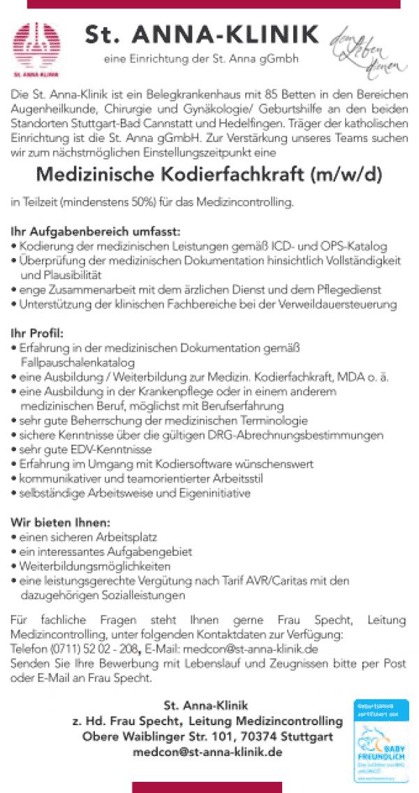 St. Anna-Klinik Stuttgart Bad Cannstadt: Medizinische Kodierfachkraft (m/w/d)