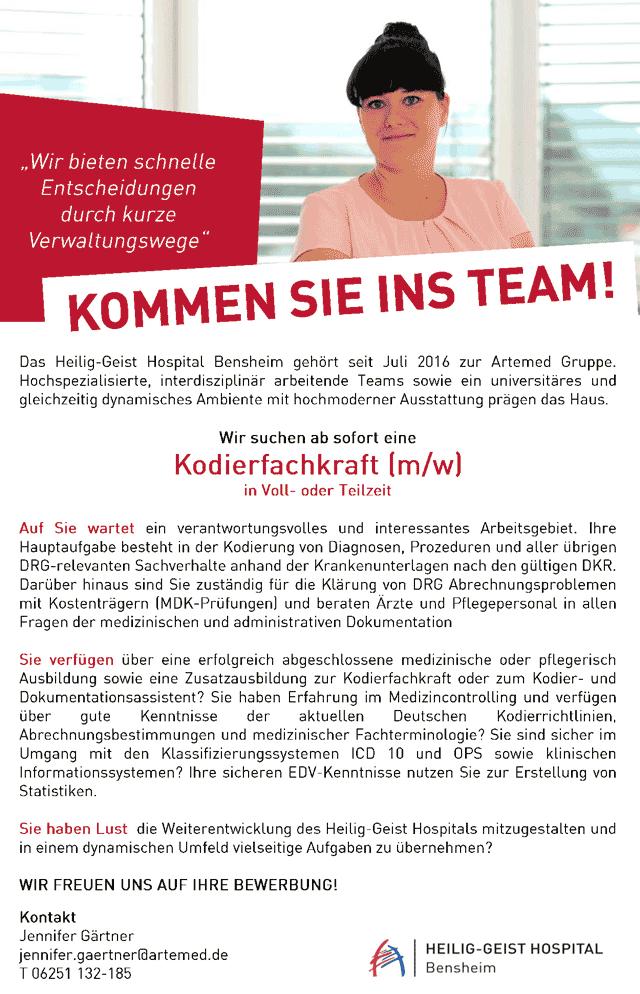 Heilig-Geist Hospital Bensheim: Kodierfachkraft (m/w)